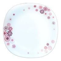 Farfurie intinsa DEC10, sticla opal, alb + roz, 26.7 cm