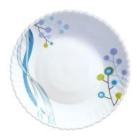 Farfurie desert DEC8, sticla opal, alb + albastru, 19 cm