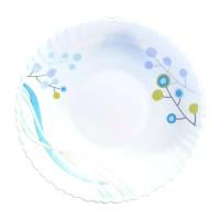 Farfurie adanca DEC8, sticla opal, alb + albastru, 24 cm