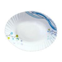Platou oval DEC8, sticla opal, alb + albastru, 34.3 cm