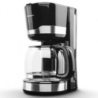 Cafetiera Rohnson R929, 1000 W, 1.5 l, capacitate 12 cesti, filtru permanent lavabil, functie antipicurare, functie mentinere cafea calda, cana din sticla, negru + argintiu