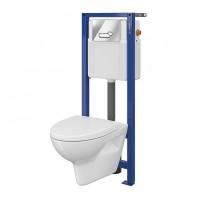 Pachet rezervor apa, incastrat, Cersanit Parva, vas WC, capac si clapeta actionare incluse
