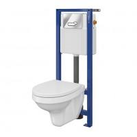 Pachet rezervor apa, incastrat, Cersanit Delfi S701-337, vas WC, capac si clapeta de actionare incluse