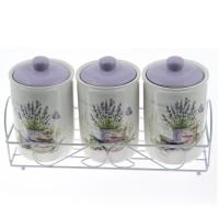 Set 3 recipiente pentru bucatarie + suport HC3D01AJ - S08, portelan, alb + albastru