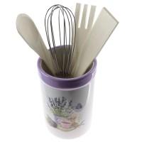 Suport cu ustensile pentru gatit incluse, HC156-S08, ceramica + lemn + inox, decor lavanda, set 5 bucati
