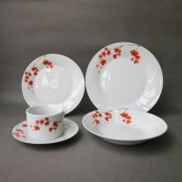 Set farfurii EY3443, portelan, alb + model floral rosu, 30 piese
