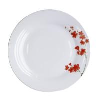Farfurie intinsa mare EY3443, portelan, alb + model floral rosu, 24 cm