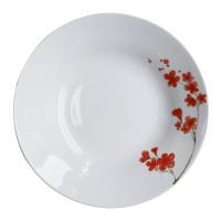 Farfurie adanca EY3443, portelan, alb + model floral rosu, 20 cm