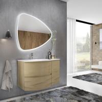 Masca baie + lavoar + oglinda Savini Due Armonia, cu sertare, stejar auriu, montaj suspendat