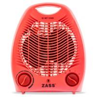 Aeroterma electrica Zass ZFH 02 C, 2 trepte, 2 kW, 220 x 140 x 270 mm, termostat reglabil, rosie