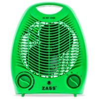 Aeroterma electrica Zass ZFH 02 C, 2 trepte, 2 kW, 220 x 140 x 270 mm, termostat reglabil, verde