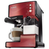 Espressor cafea Breville Prima Latte VCF046X-DIM, cafea macinata + capsule, 15 bar, 1050 W, capacitate 1.5 l, recipient lapte detasabil 0.3 l, functie autocuratare, sistem termoblock, rosu + negru