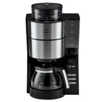 Cafetiera Melitta AromaFresh 1021-01, prevazuta cu rasnita, 1000 W, 1.375 l, capacitate 15 cesti, functie reglare intensitate cafea, oprire automata, functie antipicurare, program decalcifiere, negru + argintiu