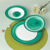Set farfurii SHZF9998, portelan, verde + alb, 18 piese