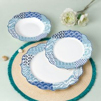 Set farfurii SHS10186, portelan, albastru deschis + alb, 18 piese
