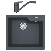 Chiuveta bucatarie compozit fragranite Franke UBG 610-56 grafite negru patrata 56 x 50 cm + baterie Novara Plus neagra