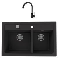 Chiuveta bucatarie compozit granital Alveus Atrox 50 G91 carbon neagra cuva stanga / dreapta 79 x 50 cm + baterie Kati neagra