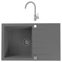 Chiuveta bucatarie compozit granital Alveus Cadit 20 G81 concrete gri cuva stanga / dreapta 79 x 50 cm + baterie Kati gri