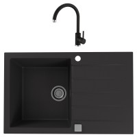 Chiuveta bucatarie compozit granital Alveus Cadit 20 G91 carbon neagra cuva stanga / dreapta 79 x 50 cm + baterie Kati neagra