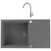 Chiuveta bucatarie compozit granital Alveus Cadit 40 G81 concrete gri cuva stanga / dreapta 86 x 50 cm + baterie Kati gri