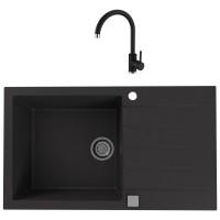 Chiuveta bucatarie compozit granital Alveus Cadit 40 G91 carbon neagra cuva stanga / dreapta 86 x 50 cm + baterie Kati neagra