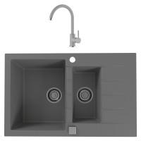 Chiuveta bucatarie compozit granital Alveus Cadit 70 G81 concrete gri cuva stanga / dreapta 79 x 50 cm + baterie Kati gri