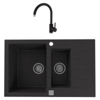 Chiuveta bucatarie compozit granital Alveus Cadit 70 G91 carbon neagra cuva stanga / dreapta 79 x 50 cm + baterie Kati neagra