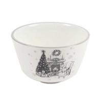 Bol motiv Craciun, ceramica, alb + gri, 700 ml, HC1100-CH28