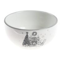 Bol motiv Craciun, ceramica, alb + gri, 13.7 x 13.7 x 6.6 cm, HC141R-CH28