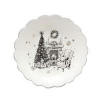 Farfurie motiv Craciun, ceramica, rotunda, alb + gri, 33.5 x 6 cm, HC886-CH28