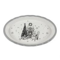 Platou HC8144A-CH28, forma ovala, ceramica, alb + gri, model Craciun, 38 x 23 x 5 cm
