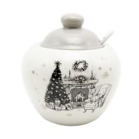 Recipient bucatarie motiv Craciun, ceramica, alb + gri, 550 ml, HC2020-CH28