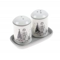 Set sare si piper motiv Craciun, ceramica, alb + gri, 5.6 x 5.6 x 8 cm, HC423R-CH28