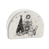 Suport servetele motiv Craciun, ceramica, alb + gri, 9.8 x 4.4 x 7.3 cm, HC4112-CH28