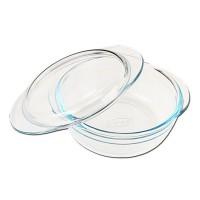 Vas rotund 197BC, cu manere, pentru servirea mesei, sticla termorezistenta, transparent, 22 cm