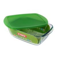 Caserola patrata pentru depozitare alimente, capac plastic, 212P000/6145, sticla termorezistenta, 2.2 L