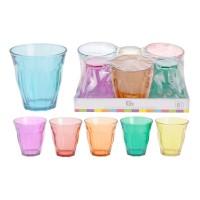 Pahar colorat pentru apa / suc, sticla, 225 ml, set 6 bucati