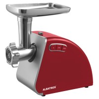 Masina de tocat carne, electrica, Albatros MTA1510R, functie Reverse, 1.8 kg/min, 1500 W, rosie, accesoriu suc rosii