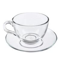 Ceasca si farfurioara pentru cafea / ceai, 97948, sticla transparenta, 238 ml, set 12 piese