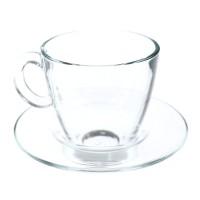 Ceasca si farfurioara pentru cafea / ceai, 95040, sticla transparenta, 215 ml, set 12 piese