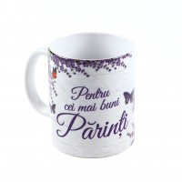 Cana cu mesaj, Pentru cei mai buni parinti, ceramica, multicolor, 330 ml