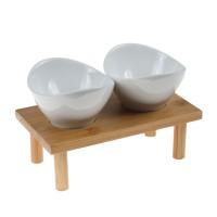 Boluri pentru servire, portelan, suport din lemn inclus, set 3 piese