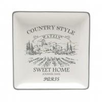 Farfurie pentru servirea mesei Country Style HC8142-G40, ceramica, alb + gri, 21.6 x 21.6 cm