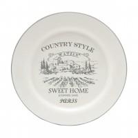 Farfurie pentru servirea mesei Country Style HC807-G40, ceramica, alb + gri, 20.2 cm