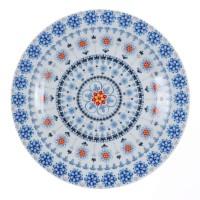 Farfurie intinsa mare EP3707, portelan, alb + model floral multicolor, 24 cm