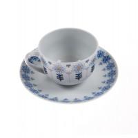 Ceasca si farfurioara cafea EP3707, portelan, alb + albastru, 220 ml