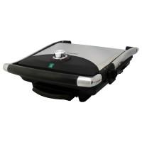 Gratar electric Albatros GT-2000, 2000 W, placi tip grill antiaderente, reglaj al temperaturii de gatire, maner termorezistent cromat, negru + argintiu