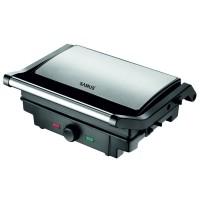 Gratar electric Samus GTS-1500X, 1500 W, placi tip grill antiaderente 25.3 x 17.2 cm, reglaj al temperaturii de gatire, posibilitate utilizare la 180 grade, maner termorezistent cromat, negru + argintiu