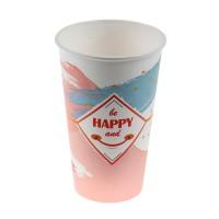 Pahare din carton Be Happy, 450 ml, set 25 bucati