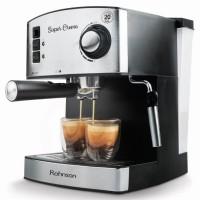 Espressor cafea Rohnson R980, cafea macinata, 20 bar, 850 W, capacitate 1.6 l, filtru dublu s/s, sistem ERP de economisire a energiei, sistem de protectie impotriva supraincalzirii si suprapresiunii, argintiu + negru